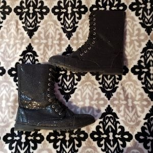 Black Sequined Combat Boots